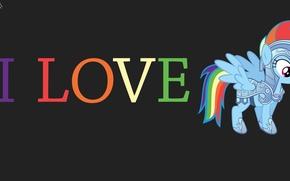 Картинка Love, минимализм, пони, rainbow dash, Pony, brony, брони