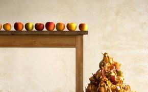 Картинка стол, яблоки, кожура