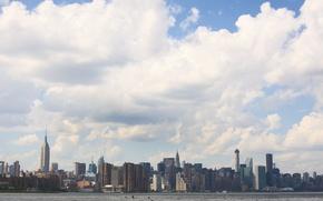 Картинка USA, United States, skyline, sky, water, New York, Manhattan, NYC, New York City, clouds, birds, …