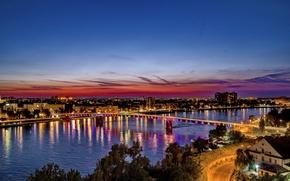 Картинка небо, ночь, мост, река, Сербия, Bridges, Rivers, Novi Sad