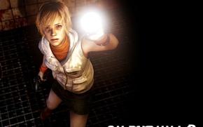 Картинка взгляд, девушка, свет, пистолет, мрак, юбка, блондинка, фонарь, жилет, Horror, Heather Mason, Silent Hill 3, …