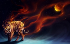 Обои тигр, планета, sanguisgelidus, арт, огонь