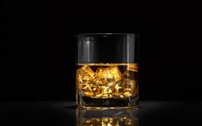 Обои стакан, виски, алкоголь, лед