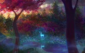 Картинка небо, звезды, озеро, олень, forest, landscape, art, мазки