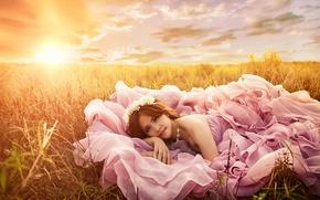 Картинка закат, настроение, платье, луг, азиатка