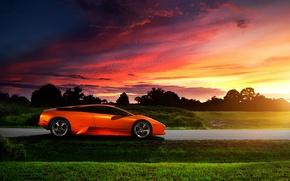 Картинка небо, закат, Lamborghini, блик, Murcielago, orange, profile