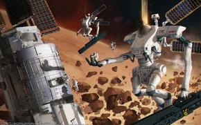 Картинка космос, фантастика, планета, роботы, CG wallpapers, Albert Urmanov