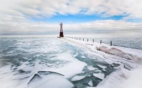 Обои море, маяк, лёд