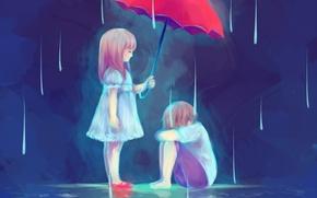 Картинка вода, зонтик, дождь, мальчик, Дети, арт, девочка, blauerozen, The Gift of a Friend