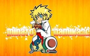 Картинка трубка, голубые глаза, Naruto, жаба, желтый фон, папа, свиток, ninja, hokage, четвертый хокаге, Naruto Shippuden, …