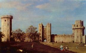 Картинка пейзаж, люди, замок, англия, картина, антонио каналь, антонио каналетто, внутренний двор замка уорвик