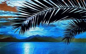 Картинка море, пальмы, картина, ветка, арт, живопись, painting, горы.