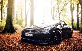 Картинка черный, GTR, Nissan, спорткар, black, ниссан