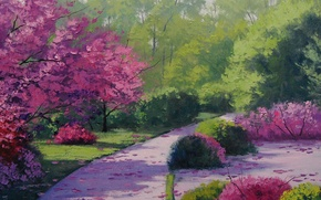 Картинка рисунок, арт, artsaus, path through the park