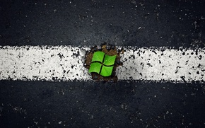 Картинка асфальт, windows, microsoft, листья