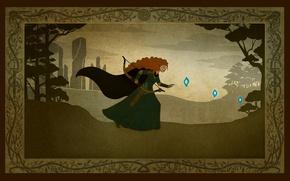 Картинка лес, Шотландия, Disney, Pixar, принцесса, Scotland, princess, Храбрая сердцем, Brave, Merida, Мерида, блуждающие огоньки