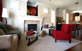 Картинка красный, дизайн, стиль, комната, диван, ковер, мебель, интерьер, кресло, камин