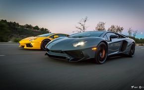 Картинка Дорога, Lamborghini, Серый, Жёлтый, Автомобиль, Speed, 2011, Суперкар, Grey, Yellow, Ламборгини, Aventador, Авентадор, Road, Supercar, …