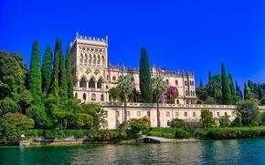 Обои деревья, озеро, вилла, здание, Италия, Italy, Ломбардия, Lombardy, Lake Garda, Villa Borghese Cavazza, Озеро Гарда, ...