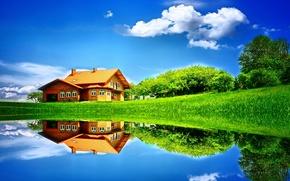 Картинка поле, лето, небо, трава, вода, облака, деревья, природа, озеро, дом, отражение, дерево, луг, домик, Пейзаж