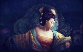 Картинка девушка, кораллы, арт, прическа, гейша