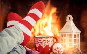 Картинка украшения, Новый Год, Рождество, fire, камин, Christmas, cup, Xmas, decoration
