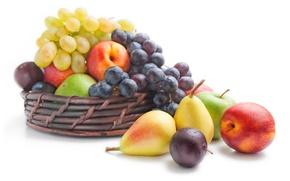 Обои ягоды, яблоки, виноград, фрукты, сливы, груши, нектарины