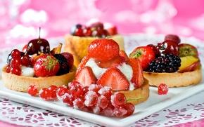 Обои пирожные, десерт, тарталетки, сладкое, ягоды, малина, смородина, вишня, ежевика, клубника