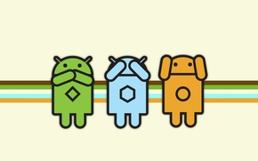 Обои Android, ничего не слышу, ничего не вижу, ничего не говорю.