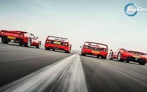 Картинка Top Gear, Ferrari, Red, F40, Enzo, Supercars, Track, Italian, F50, Rear, 288 GTO