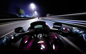 Обои дорога, мотоцикл, ночь, скорость