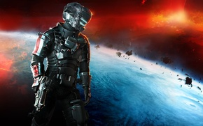 Картинка космос, оружие, планета, Айзек Кларк, Mass Effect 3, Electronic Arts, DLC, Dead Space 3, Isaac ...