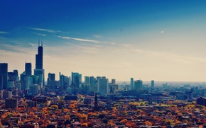 Обои осень, небо, небоскребы, Чикаго, USA, Chicago, мегаполис, illinois