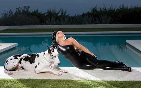 Картинка девушка, music, актриса, певица, pool, fashion, знаменитость, dog, singer, fame, Lady Gaga, pop, Леди Гага, …