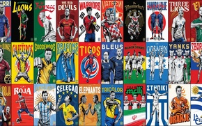 Картинка football, National, collage, athletes, teams, Brasil 2014