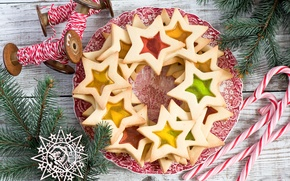 Картинка звезды, елка, новый год, рождество, печенье, выпечка