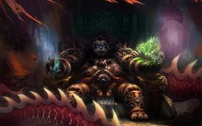 Картинка магия, драконы, арт, панда, World of Warcraft, трон, Mists of Pandaria