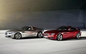 Картинка красный, фон, Roadster, серебристый, BMW, БМВ, Coupe, передок, Купе, Zagato, Загато, Родстер