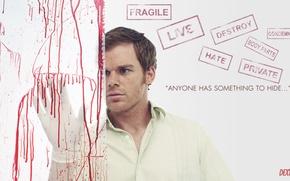 Обои майкл си холл, сериал, кровь, декстер, убийца, маньяк, Dexter