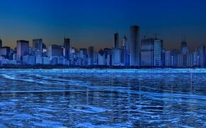 Картинка синий, Зима, Лед, Небоскребы, панорама