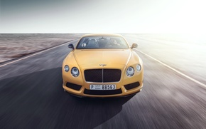 Картинка Bentley, Continental, Car, Speed, Front, Yellow, Road