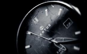 Картинка макро, wallpapers, стекло, часы, фон, черное, обои, стрелки, белое, трещины, время, фото