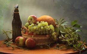 Картинка яблоки, бутылка, виноград, дыня