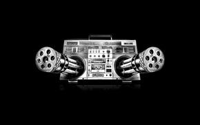 Обои кассетник, Магнитофон, Музыка, опасно, пулеметы