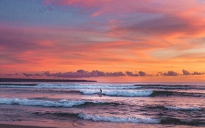Картинка waves, beach, twilight, sunset, seascape, surfing, dusk, seaside, surfers, extreme sport