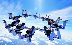Картинка небо, прыжок, Люди, парашют