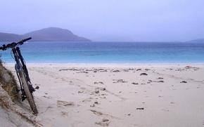 Картинка море, пляж, велосипед, утро, привал, mountain bike