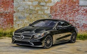 Картинка Mercedes-Benz, стена, Black, 2014, AMG, S-Class, черный, мерседес, S 550, амг, C217