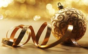 Картинка блики, праздник, узор, завитки, блеск, шар, лента, ткань, украшение, золотистый, серпантин, тесьма, елочная игрушка