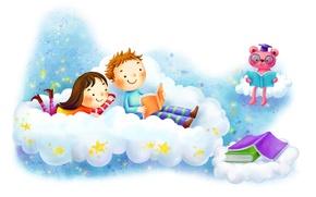 Картинка фантазия, рисунок, звёзды, мальчик, облако, девочка, книжки, улыбки